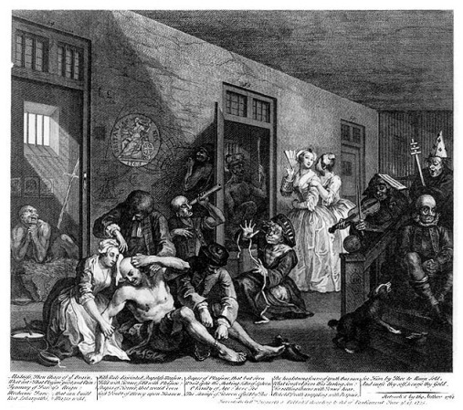 English madhouse, 18th c., by William Hogarth