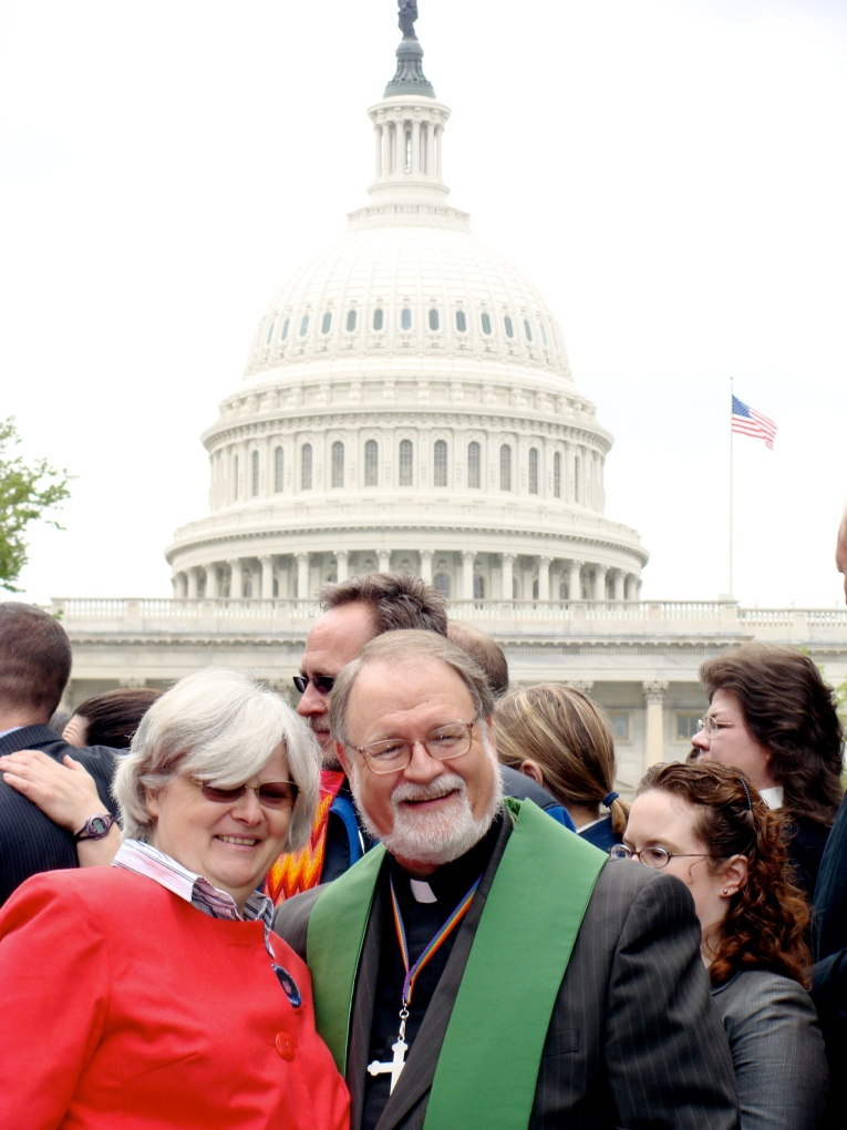 Elke Kennedy and Steve Sprinkle on Capitol Hill for HRC Clergy Call 2009
