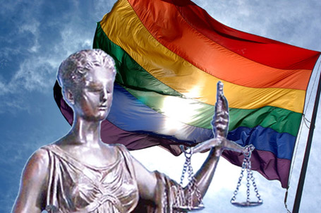 Lady Justice and the Rainbow Flag