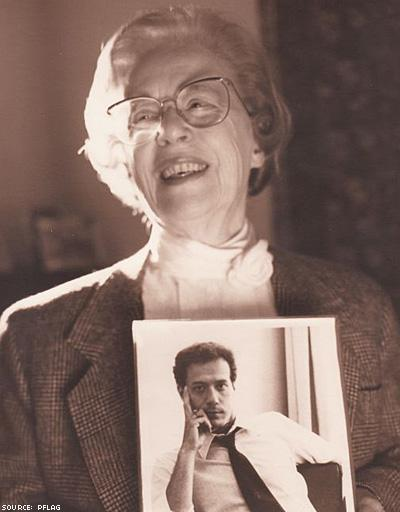 Jeanne Manford (1920 - 2013), proudly cradling the photo of her gay son, Monty.