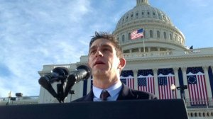 "Richard Blanco delivers ""One Today"" at Barack Obama's Second Inaugural Swearing-in Ceremony."