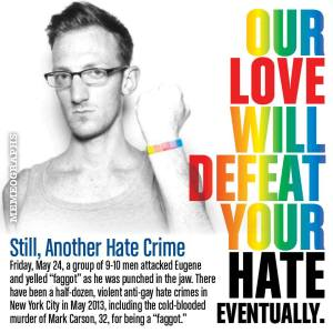 Graphic created by Memeographs Studio protesting the latest gay bashing victim in NYC, Eugene Lovendusky.