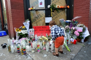 Makeshift shrine at the spot Mark Carson was shot to death in West Village.