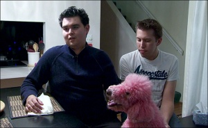 Gay Bashing victim David Beltier (l), partner Jeremy Mark (r), and their poodle Beauty.