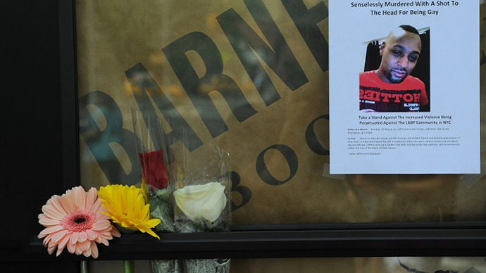 Makeshift shrine at the location of the murder of Mark Carson, 32, shot in the head for being gay, NYC, on May 20, 2013 (AFP photo).