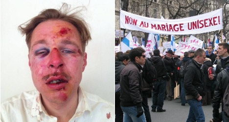 "Paris victim Wilfred de Bruijn, ""the face of homophobia in France,"" and French anti-gay marriage protestors."