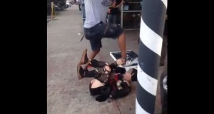 Video capture of stomping attack on trans woman in Atlanta.  GA Voice image.