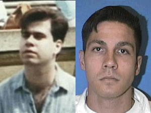 Paul Broussard (l) as he appeared in 1991, and Jon Buice in prison uniform [Equality Texas photo image].