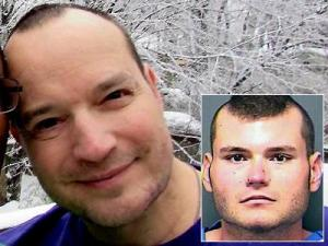 Stephen Patrick White, burned and beaten to death, and his alleged assailant, Garry Gupton (insert photo).
