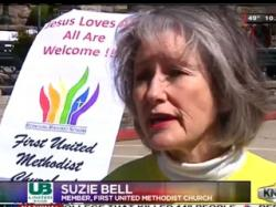 Methodist Laywomen Suzie Bell says barring her church from the Easter Parade was an act of anti-LGBT discrimination.