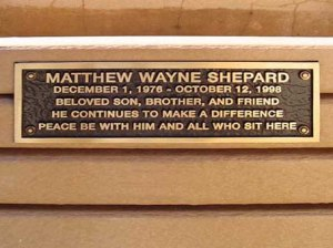 This plaque on a UW park bench is the sole memorial to Matthew Shepard currently in Laramie, Wyoming.